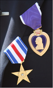 silver star and purple heart medals