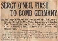 Sergt O'Neil First To Bomb Germany