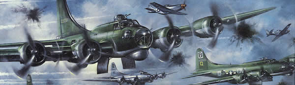 painting of bombers flying