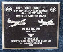 photo of plaque commemorating the 482nd Bomb Group
