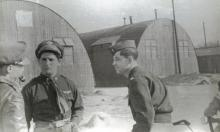 Lt. Nick P Dear, Bombardier (middle) and Lt. Bill Owen, Pilot (right) -officer with pipe unknown