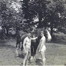 young men in underwear with horse