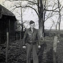 Staff Sgt. John J. O'Neil outside his barracks Alconbury